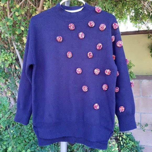 Zara Kids Fancy Pom Pom Sweater Navy Girls 7